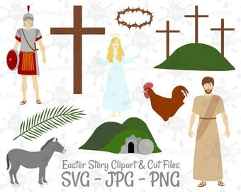 Easter Story Clipart, Bible Story Clipart, Holy Week Clipart, Roman Soldier Clipart, Angel Clipart, Empty Tomb Clipart, Crown of Thorns