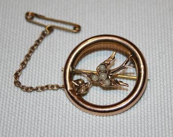 9ct Antique Australian Swallow Brooch