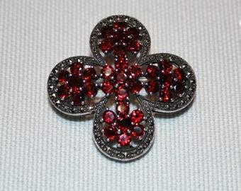 Sterling Silver Garnet Marcasite Pendant/Brooch