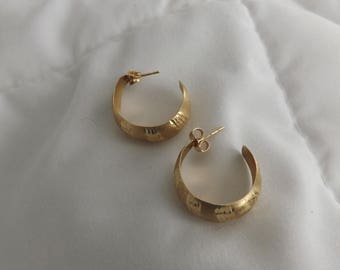 14k Yellow Gold Laser Cut Vintage Hoop Earrings