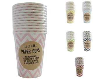 Paper Cups Party (9oz) Chevron / Zig Zag - Tableware Wedding Birthday Decoration
