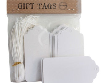 Gift Tags Retro White Name Card with Strings Scallop Christmas Blank Label - Pack of 10
