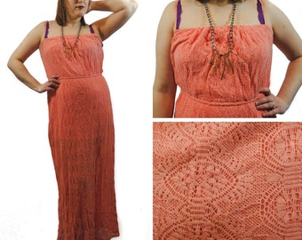 Peach Lace Maxi Dress