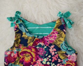 READY TO SHIP 0-3 Floral Pant Romper with ties by Little Lapsi. New baby girl. spring summer outfit. art gallery knit