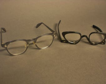 Mid Century Eyeglasses Pair French Cat Eye and American Optical Gray Nerd Frame