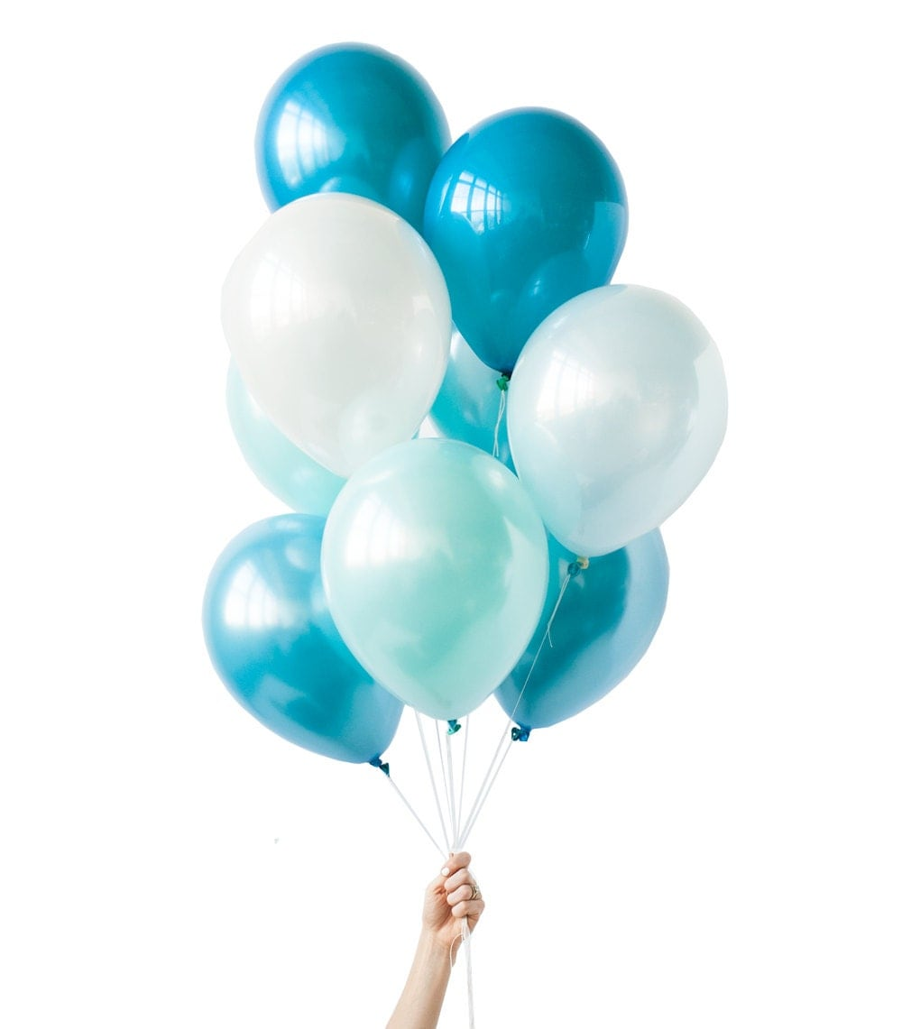 Green and blue balloons - Surf S Up 11 Teal Blue Light Blue And White Balloon Bouquet 10