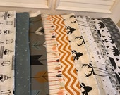 Custom Order For Maranda, Crib Rag Quilt, Deer Gray Black Baby Quilt Arrows Feathers Be Brave Bears Teepee Baby Boy Crib Bedding  Minky