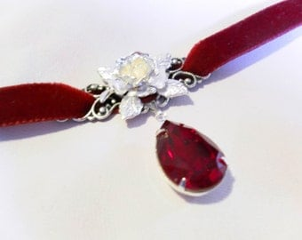 Deep Red VELVET choke with Siam SWAROVSKI crystal and rose - goth - victorian - lolita