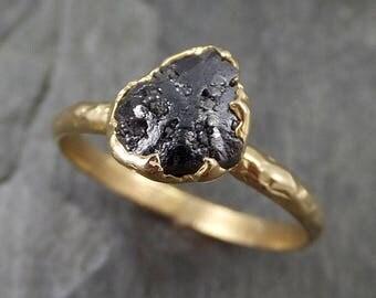 Rough Raw Black Diamond Engagement Ring Raw 14k Gold Wedding Ring Wedding Solitaire Rough Diamond Ring byAngeline 0456