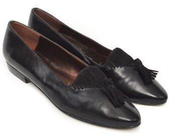 Vintage 90s Proxy Slip On Flats with Tassels Shoes Sz 7.5 M