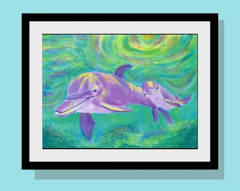 Kids Walll Art - Mom and Baby Dolphin Art Print - 10 x 14 Limited Edition - Original Acrylic Painting - Beach Decor