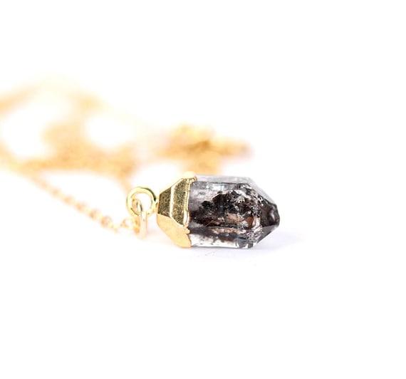 Quartz necklace - herkimer diamond necklace - rutilated quartz necklace - diamond quartz necklace - herkimer diamond - festival jewelry