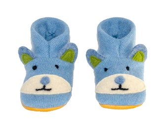 Bear Cashmere and Lambswool Slippers, Felted kids footwear,  Baby Bear Shoes, Kids Bear Slippers:  Custom Order