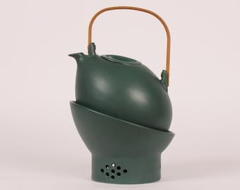 Per Rehfeldt Åbo Tea pot with heather made by Soholm on Bornholm - Denmark mid century