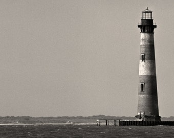 Morris Island Lighthouse, Folly Beach South Carolina, Black and White Photography, Nautical Art, Black & White - Limited Edition Print