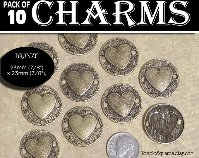 Bronze Heart Connector Charms - Wholesale Prices. Pack of 10 Charms diy Jewelry Findings for Necklaces, Bracelets LDS Craft Supplies