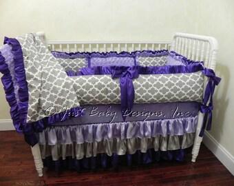 Lilac Turquoise Ikat Crib Bedding Lady Lilac