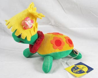 Honolulu Harry Turtle Dakin Dream Pet Velveteen w/ Tags 1960s Japan Stuffed Plush