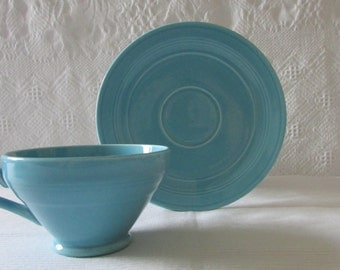 Vintage Turquoise Cups/Saucers Early California Authentic Vernonware Vernon Kilns California Set 4 Dinnerware 1940s
