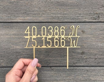 "Personalized Coordinates Wedding Cake Topper 5"" inches wide, Travel Theme Cake Topper, Rustic Cute Unique Toppers Location Topper"