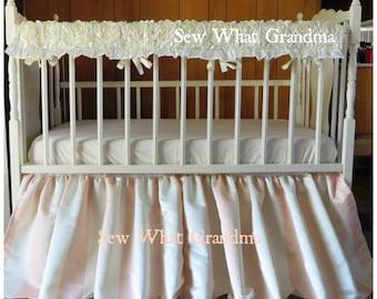 Satin Striped Cream Peach Skirt and Rosette Rail Cover. Striped Nursery, Light Peach Champange Crib Dust Ruffle