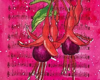 Fuchsia Botanical Original Bohemian Art