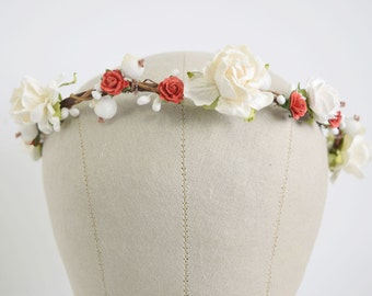 Bridal Flower Crown, floral headband, flower circlet, winter wedding, bridal headpiece, bridesmaid flower crown, vintage wedding-  SCARLETT