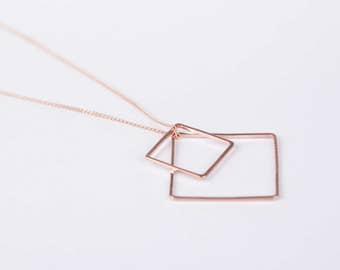Long Rosegolden Diamond Necklace Gold Plated Necklace Triangle Rose Golden Necklace Minimal