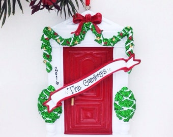 FREE SHIPPING Red Door Personalized Christmas Ornament- New Home Ornament - Red Door - Hostess Gift - Custom Name or address