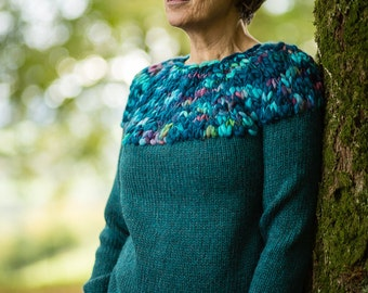 Hand Knit Jumper in Petrol Green Alpaca and Merino Wool by Crooked Knitwear