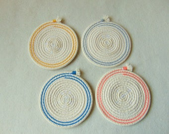 Drink Coasters, Rope Coasters, Cotton Coasters set of 4, Natural Coasters, Eco Friendly Vegan Gifts