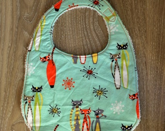 Atomic Cats Baby Bib with Terry Cloth Backing