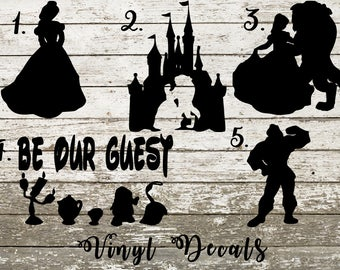 Beauty and the Beast Vinyl Decal Sticker - Belle - Gaston - Be Our Guest - Castle - Disney - Lumiere - Mrs Potts - Chip - Cogsworth - Car