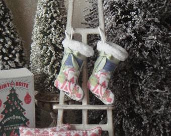 Dollhouse Santas Christmas stocking. 1:12 Miniature Christmas stocking for dollhouses. Miniature ornaments for dollhouses.