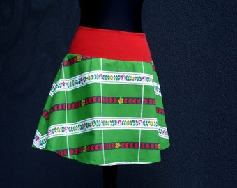 Retro Rock heart and flower bells skirt skirt from original 70s fabric Pausa artist Print ladies skirt Original 70s Fabric