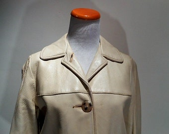 Vintage Cream To Bone Colored Deerskin Jacket Coat, c. 1960