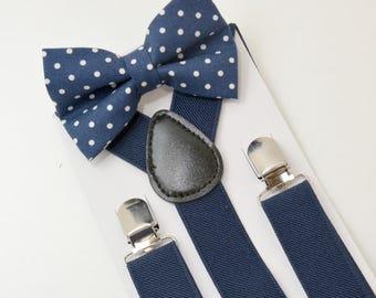 Suspenders SET 8months-Adult Kids Children Toddler Baby Boys Boy Mens Navy Blue Suspenders  & Navy Polka Dot Cotton bow tie Groom Page Boy