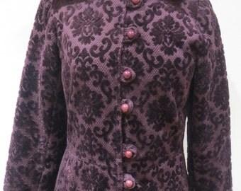 Late 60s fancy hooded purple flock velvet Maxi coat