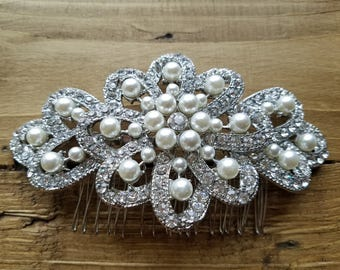Wedding Hair Comb, Bridesmaid's Hair Comb - Off White Pearls & Rhinestones - Style H1867