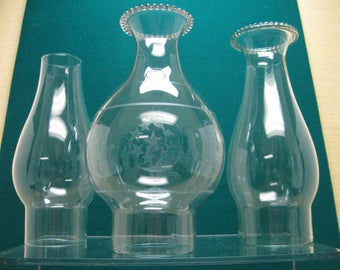 Oil Lamp Chimneys - 2, #2 and 1, #1 - with Two Having Pinched Tops and One Plain - Total of Three for One Price
