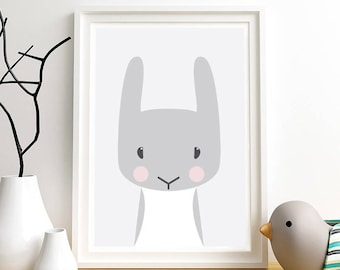 Cute baby animals, Rabbit, Animal nursery art, Woodland animals, Bunny, Nursery decor, Nursery animal art print, Nursery artwork, Animals