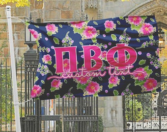 Pi Beta Phi flag, Navy blue with bright hot pink floral, 3 x 5 feet Polyester mesh, Customizable Sorority gift, PiPhi Room decor