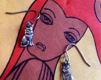 Teeny Tiny itty bitty Kitty Cat Dangle &  Drop Earrings