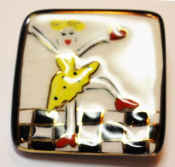 Vintage porcelain mod new wave dancing girl graphic art styled painted pin brooch so 80's