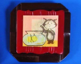 OOAK Cat and the Fish Bowl Lenticular Brooch