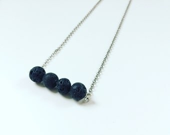 4 Black Lava Necklace Essential Oil Diffuser, Cross Bar Necklace, Clay Lava Bead, Minimalist, Modern Aromatherapy Jewelry