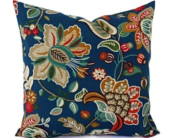 Two Floral Pillow Covers - Teal Pillows - Patio Pillow Covers - Outdoor Pillow Covers - Floral Throw Pillows - Blue Pillows 16 x 16 18 x 18