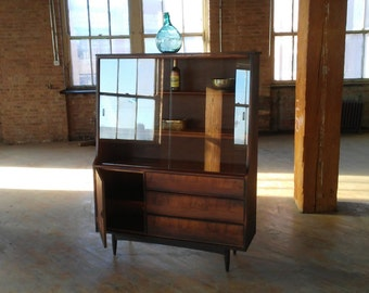 Modern China Cabinet // Rustic - Custom Finished  China Cabinet,  Vintage 1950