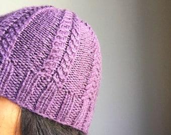 Knitted Hat- Hand Knit Beanie/Toque- Wool Hat- Purple Knit Hat