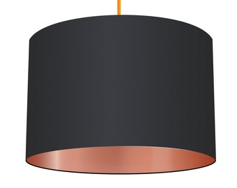 Black Linen Fabric Drum Lampshade With Metallic Copper Effect Lining, Small Lampshade 20cm - Large Lampshade 40cm or Custom Order